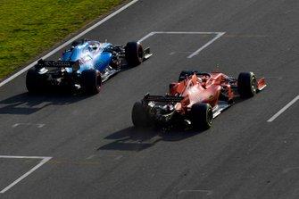 George Russell, Williams FW42, leads Sebastian Vettel, Ferrari SF90
