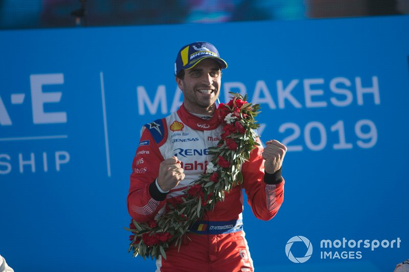 Jérôme d'Ambrosio, Mahindra Racing, 1st position, celebrates on the podium