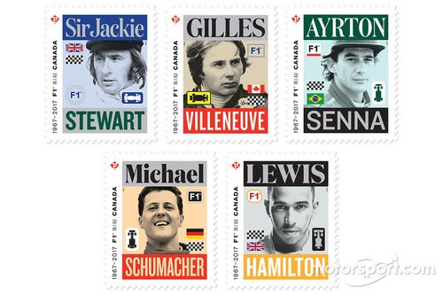 Des timbres canadiens de Formule 1