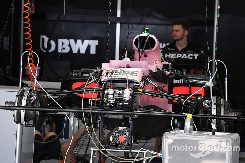 Sahara Force India F1 VJM10 in the garage