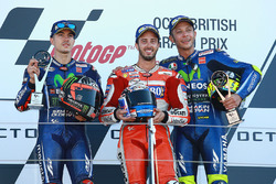 Podium: race winner Andrea Dovizioso, Ducati Team, second place Maverick Viñales, Yamaha Factory Racing, third place Valentino Rossi, Yamaha Factory Racing