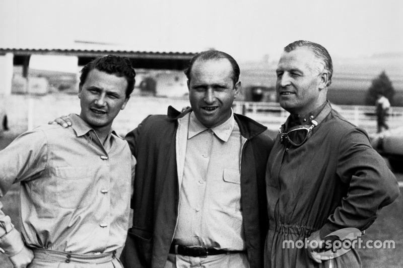 Hans Herrmann, Juan Manuel Fangio y Karl Kling, Mercedes
