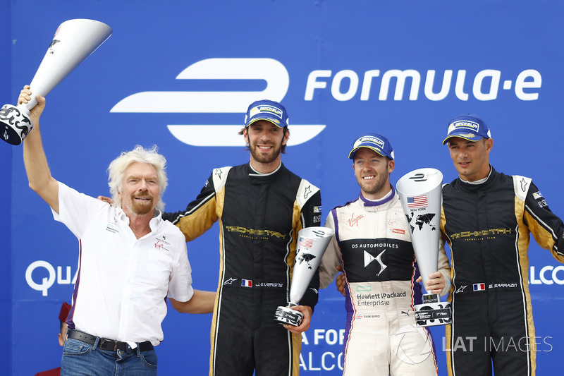 Sir Richard Branson, Jean-Eric Vergne, Techeetah, Sam Bird, DS Virgin Racing, and Stéphane Sarrazin,