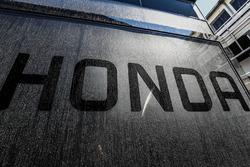Honda logo on the McLaren transporters