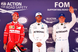 Polesitter Lewis Hamilton, Mercedes AMG F1; 2. Sebastian Vettel, Ferrari; 3. Valtteri Bottas, Mercedes AMG F1