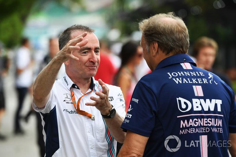 Paddy Lowe, accionista y director técnico de Williams y Robert Fearnley, jefe de equipo de Sahara Force India F1