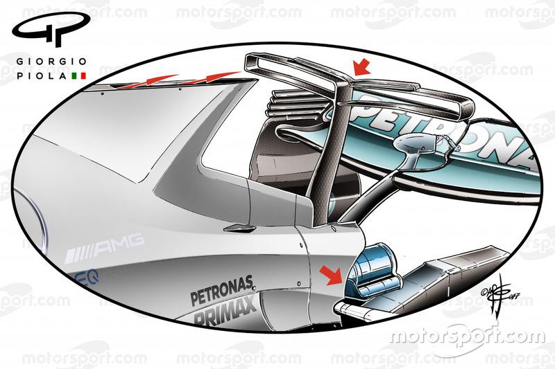"""جناح """"تي"""" على سيارة مرسيدس دبليو08"""
