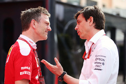 James Allison, Ferrari Chassis Technical Director with Toto Wolff, Mercedes AMG F1 Shareholder and E