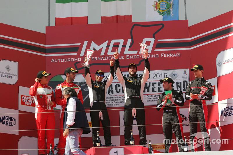 Podio Gara 1 GT3: Postiglione-Gagliardini, Imperiale Racing, Leo-Cheever, Scuderia Baldini 27 Network, Zonzini-Russo, Audi Sport Italia