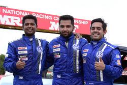 Race winner Karminder Singh, second place Ishaan Dodhiwala, third place Aditya Pawar