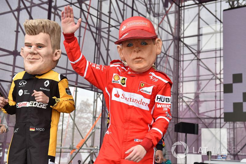 Karikatur Kimi Raikkonen, Ferrari, Nico Hulkenberg, Renault Sport F1 Team