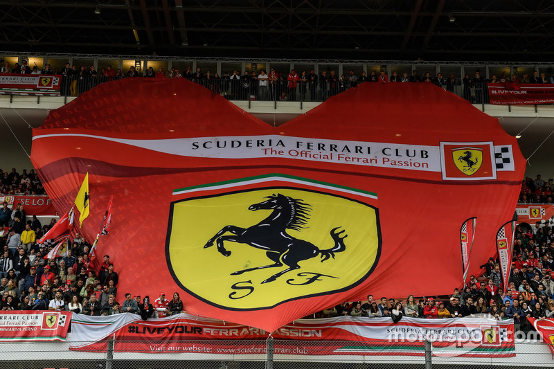 Ferrari banner at the grandstand