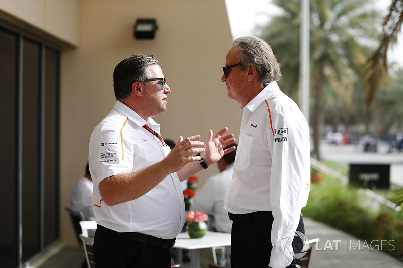 Zak Brown, Executive Director, McLaren Technology Group, talks to Mansour Ojjeh, co-owner, McLaren