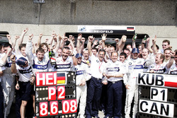 Second place Nick Heidfeld, BMW Sauber F1.08, winner Robert Kubica, BMW Sauber F1.08, Mario Theissen, Director, BMW Motorsport and Willy Rampf, Technical Director, BMW Sauber, celebrate with their team