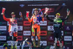 Winnaar Jeffrey Herlings, Red Bull KTM Factory Racing, tweede plaats Tony Cairoli, Red Bull KTM Fact