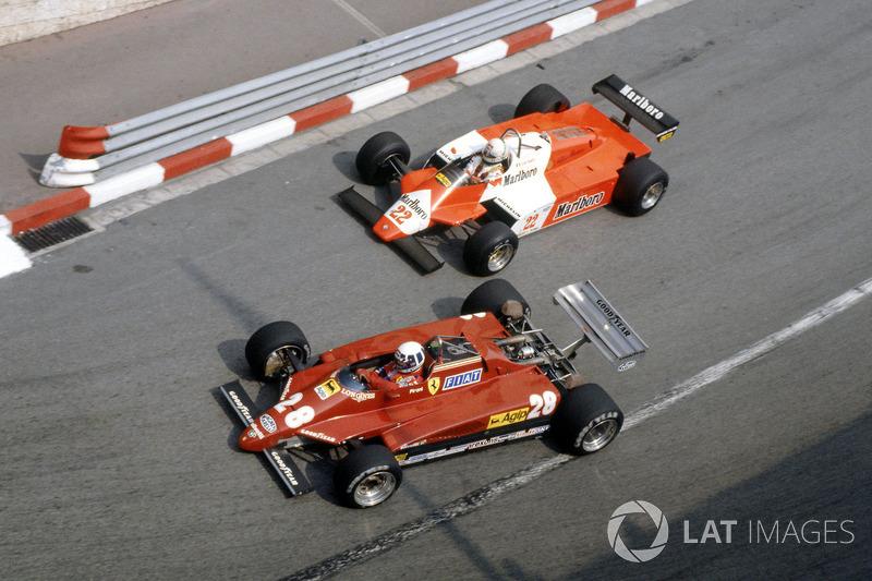 Didier Pironi, Ferrari 126C2 devant Andrea de Cesaris, Alfa Romeo 182