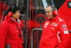 Hirohide Hamashima, Head of Bridgestone Tyre Development with Luigi Mazzola, Ferrari Test Team Manager