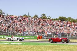 Sebastian Vettel, Ferrari, Kimi Raikkonen, Ferrari, in the drivers parade