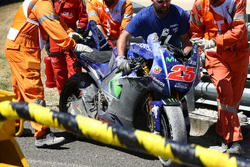 Bike von Maverick Viñales, Yamaha Factory Racing, nach Crash