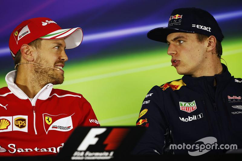 Sebastian Vettel, Ferrari; Max Verstappen, Red Bull