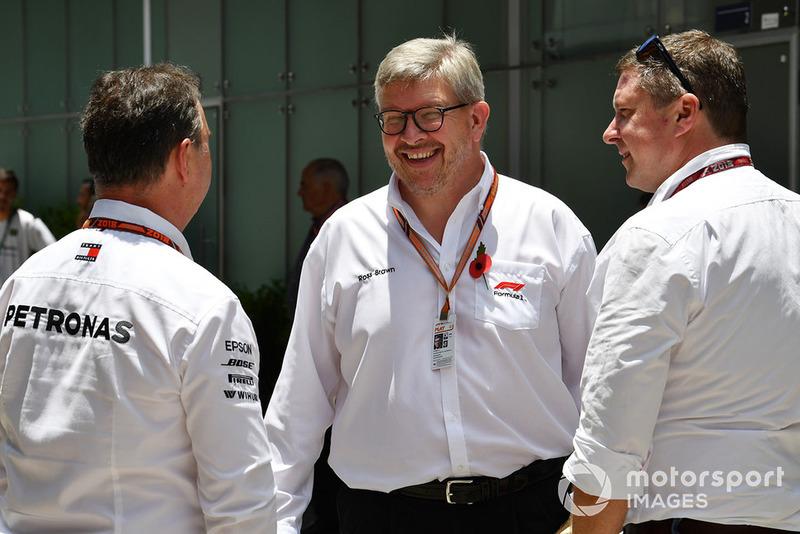 Ron Meadows, Mercedes AMG F1 Team Manager, Ross Brawn, Formula One Director general de automovilismo David Croft, Sky TV