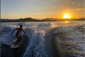 Carlos Sainz durante sus vacaciones en 2018