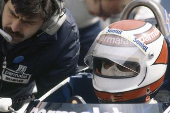 Nelson Piquet, Brabham BT50-BMW, et le designer, Gordon Murray