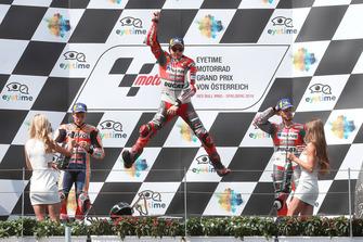 Podium: second place Marc Marquez, Repsol Honda Team, winner Jorge Lorenzo, Ducati Team, third place Andrea Dovizioso, Ducati Team