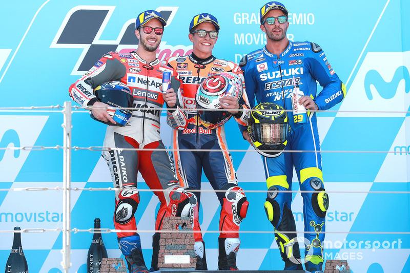Podium: 1. Marc Marquez, 2. Andrea Dovizioso, 3. Andrea Iannone