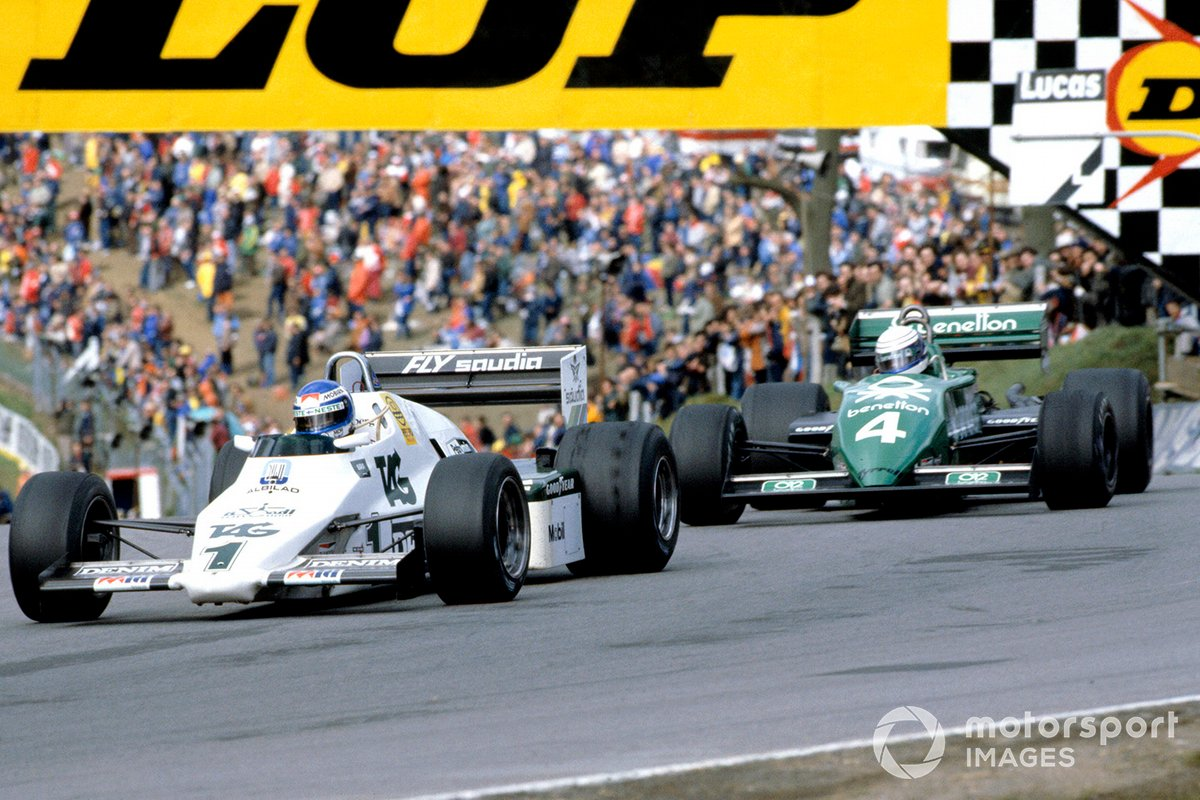 Keke Rosberg, Williams FW08C Ford, leads Danny Sullivan, Tyrrell 011 Ford