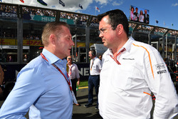 Jos Verstappen, and Eric Boullier, McLaren Racing Director on the grid