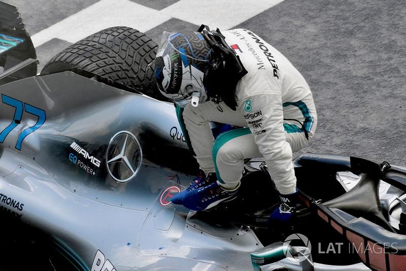 Valtteri Bottas, Mercedes-AMG F1 W09 en parc ferme
