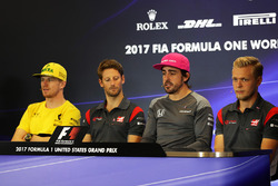 Nico Hulkenberg, Renault Sport F1 Team, Romain Grosjean, Haas F1, Fernando Alonso, McLaren, Kevin Magnussen, Haas F1 en conferencia de prensa