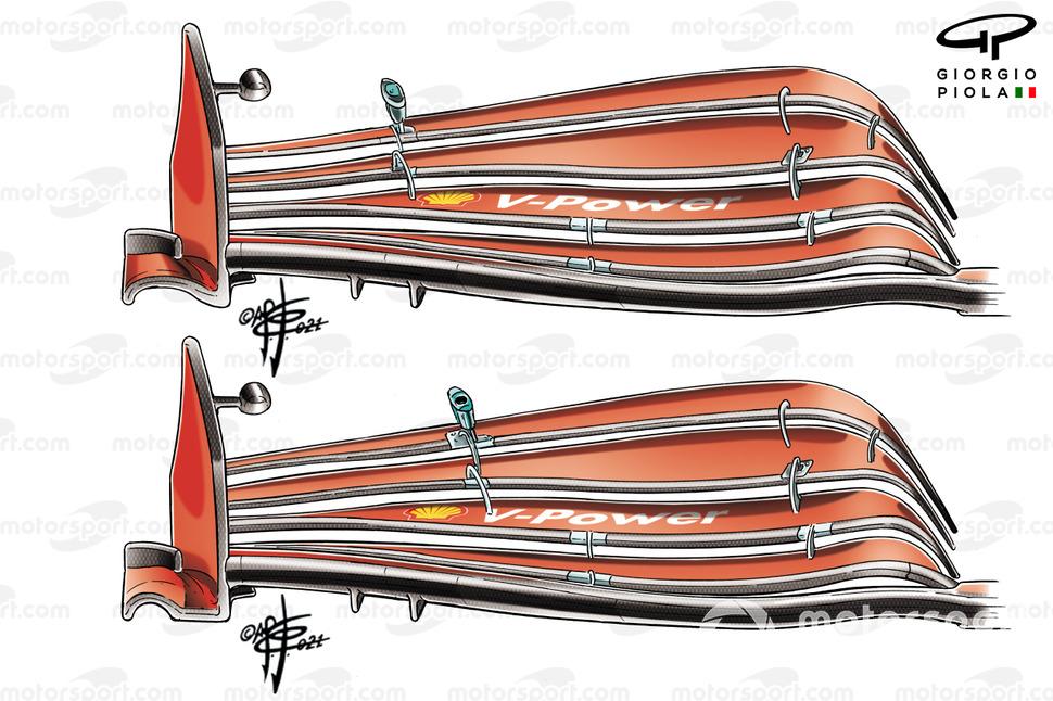 Ferrari SF21 front wing comparison