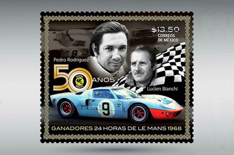 Estampilla Postal Pedro Rodríguez Le Mans 1968