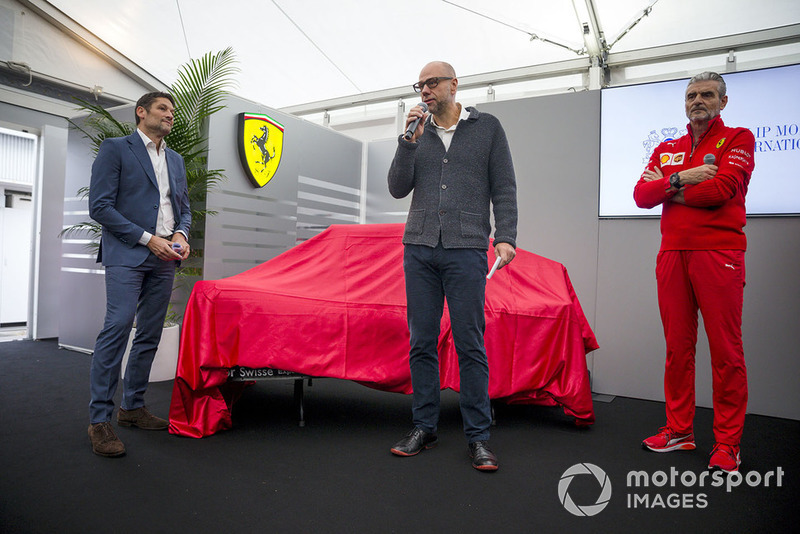 Kimi Raikkonen, Ferrari e Sebastian Vettel, Ferrari, al lancio della nuova livrea Ferrari