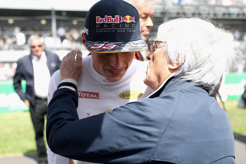 Max Verstappen, Red Bull Racing, mit Bernie Ecclestone