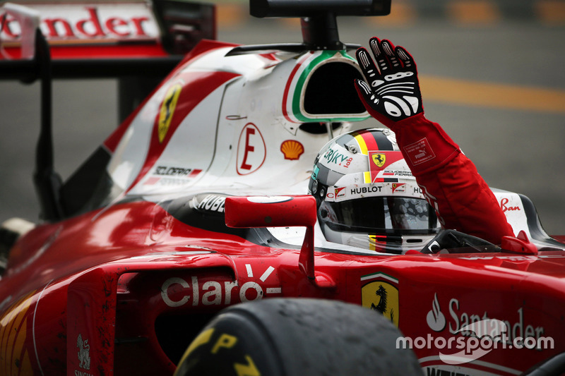Sebastian Vettel, Ferrari celebrates his third position at the end of the race