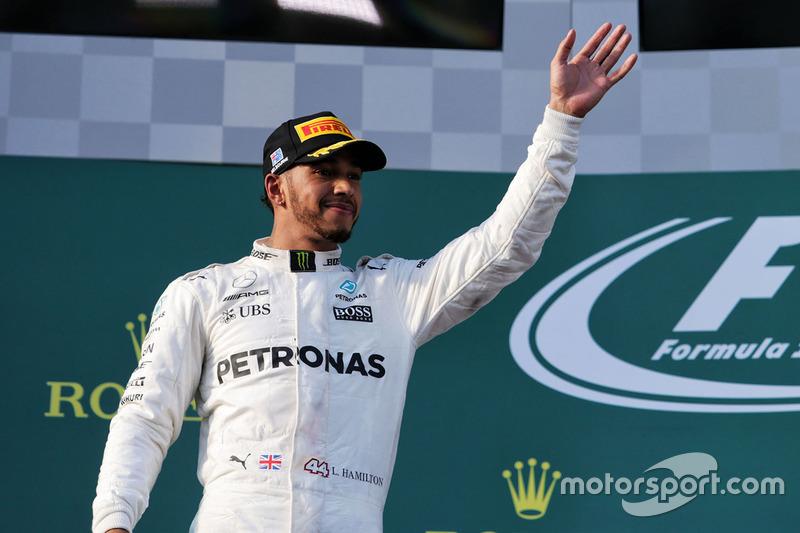 Podium: second place Lewis Hamilton, Mercedes AMG F1