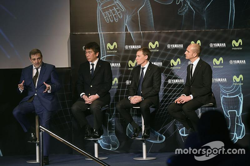 Kouichi Tsuji, General Manager División de Desarrollo de Motorsport, Yamaha Motors, Lin Jarvis, Yamaha Factory Racing Director, Massimo Meregalli, Yamaha Factory Racing Team Director