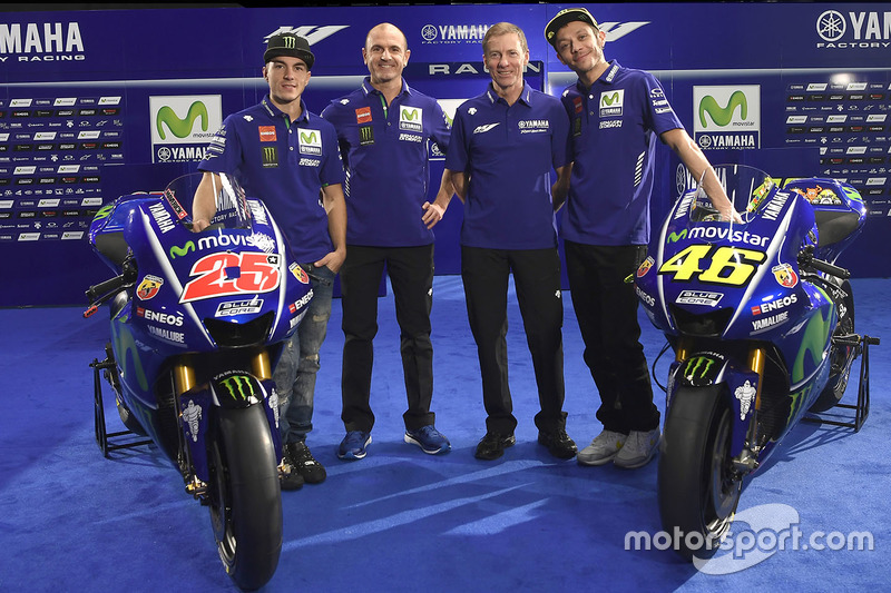 Lin Jarvis, Yamaha Factory Racing Director General, Massimo Meregalli, Yamaha Factory Racing Director de equipo, Valentino Rossi, Yamaha Factory Racing, Maverick Viñales, Yamaha Factory Racing