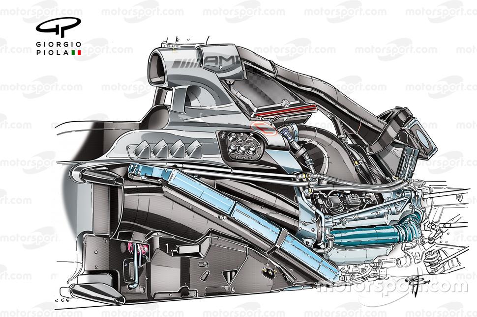 Muestra de la instalación de la unidad de potencia en el Mercedes W05.