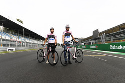 Esteban Ocon, Force India, Sergio Perez, Force India, on bicycles