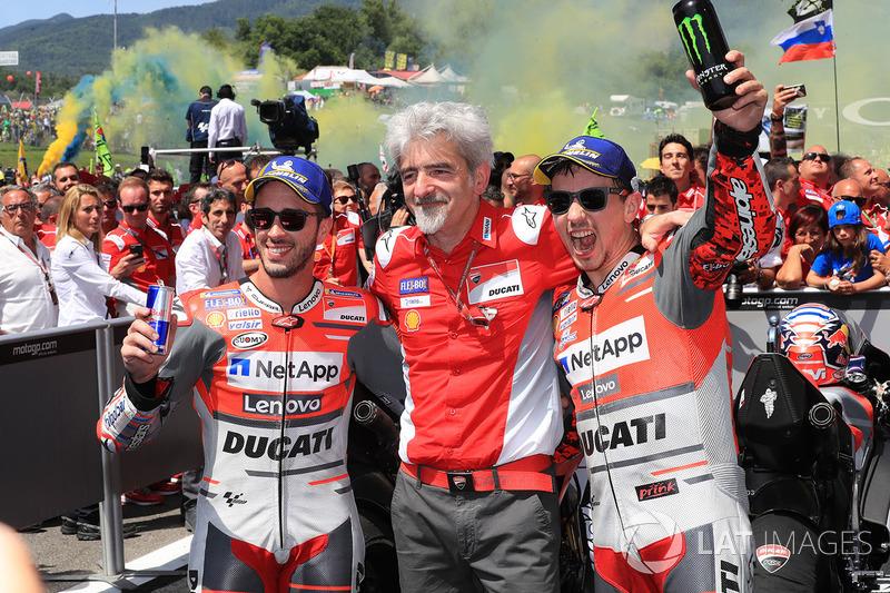 Second place Andrea Dovizioso, Ducati Team, Gigi Dall'Igna, Ducati Team General Manager, winner Jorge Lorenzo, Ducati Team