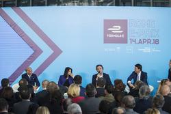 Angelo Sticchi Damiani,  President of the ACI with Virginia Raggi, Mayor of Rome, Alejandro Agag, Formula E CEO, Founder, CEO of the FIA Formula E Championship, Roberto Diacetti, EUR S.p.A Chairman