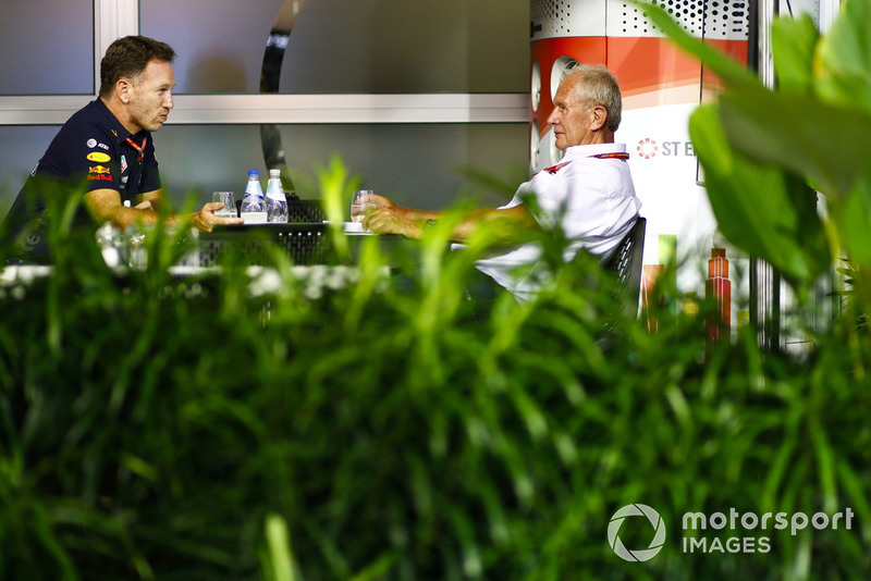 Christian Horner, Team Principal, Red Bull Racing, with Helmut Markko, Consultant, Red Bull Racing