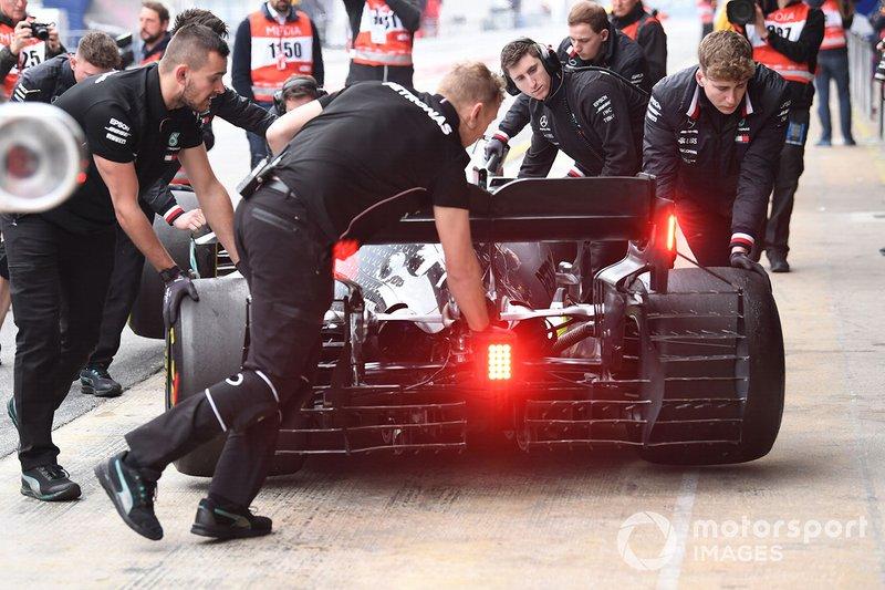 Valtteri Bottas, Mercedes-AMG F1 W10, avec des capteurs aéro