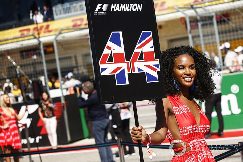 Grid girl for Lewis Hamilton, Mercedes AMG F1