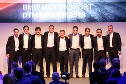 Line-up 2018: Philipp Eng, Joel Eriksson, Bruno Spengler, Bart Mampaey, Stefan Reinhold, teambaas BMW Team RMG, Maro Wittmann, Augusto Farfus, Timo Glock, Jens Marquardt, directeur BMW Motorsport