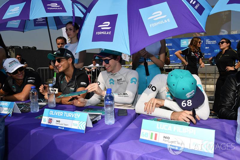 Mitch Evans, Jaguar Racing, Oliver Turvey, NIO Formula E Team, Luca Filippi, NIO Formula E Team, sign autographs for fans